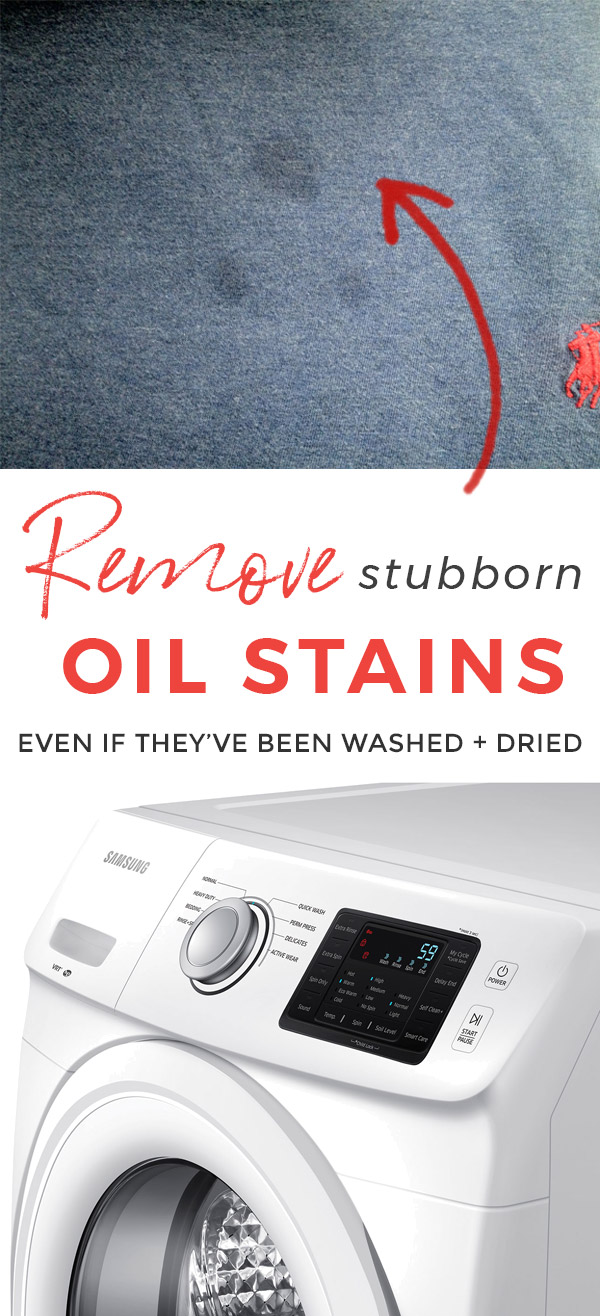 This oil stain removal method really works! How to Remove Set In Oil Stains and Grease Stains even if they've been washed and dried #remove #oilstain #oilstainremoval  #greasespot #laundrytips #laundry