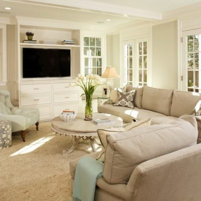neutral living room with mint