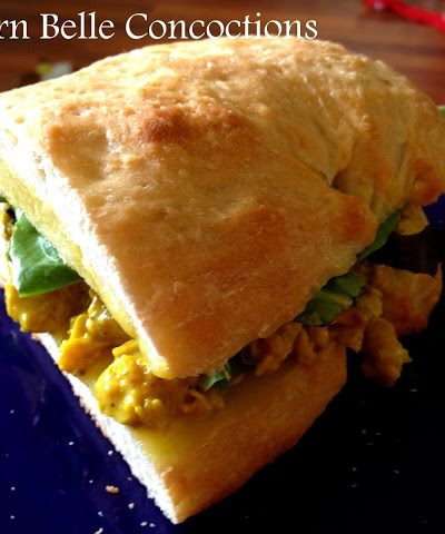 Curried Chicken Sandwich with Homemade Olive Oil Mayonnaise and Ciabatta