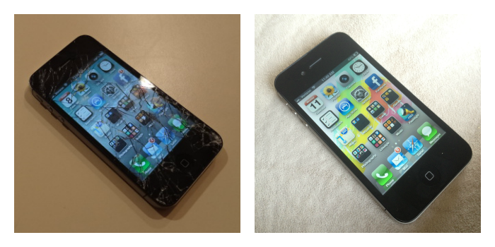 Broken iPhone screen: before and after