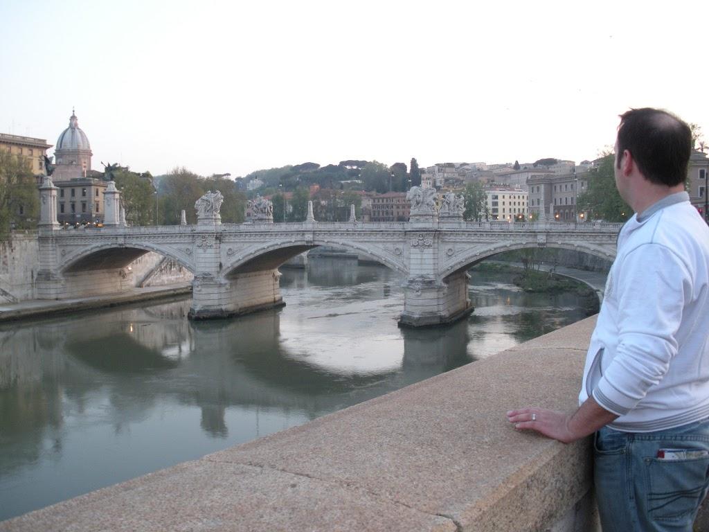 bridge over Tiber River, looking at Vatican city