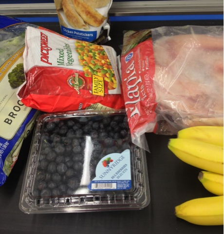 Operation skinny food, tilapia, blueberries, broccoli, potstickers are wontons, bananas, Ziploc steamer bags