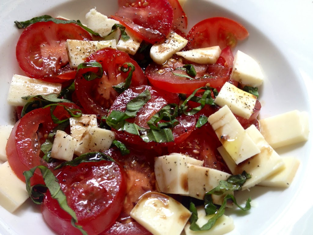 tomato, mozzarella, basil, salt and pepper, olive oil, balsamic vinegar
