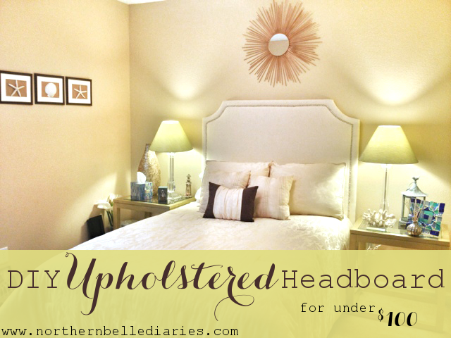 DIY Upholstered headboard with nail trim