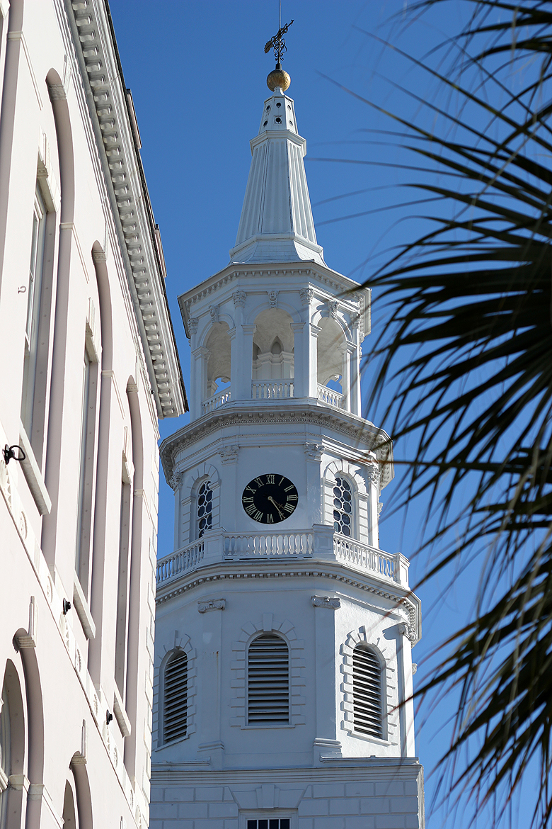 St Michael Episcopal Church tower close up Charleston SC