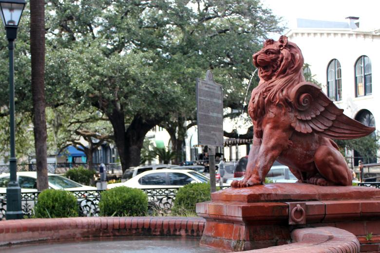 ed lion fountain savannah cotton exchange