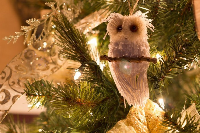 white owl in christmas tree