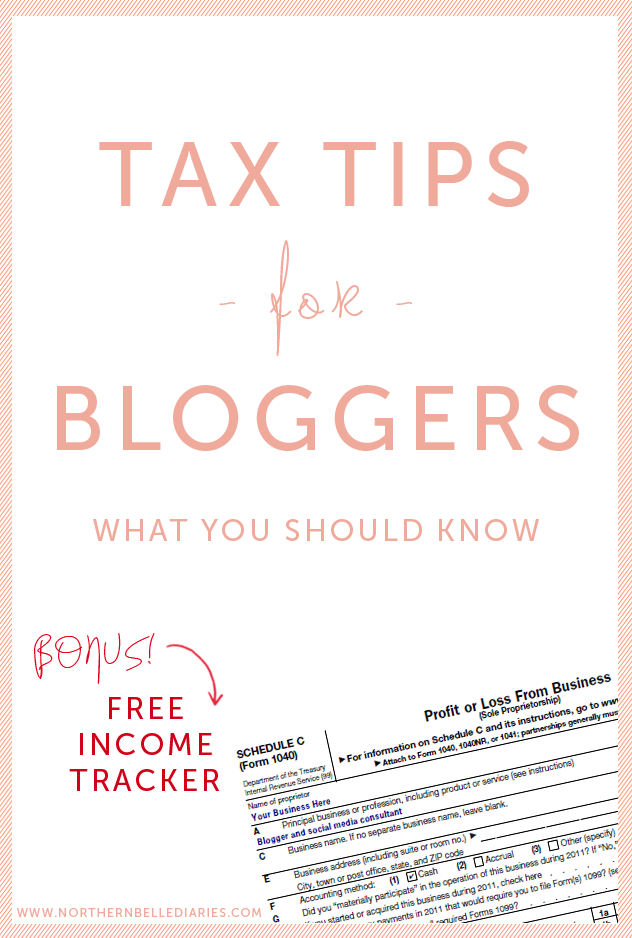 Tax Tips for Bloggers plus a free blogging income tracker