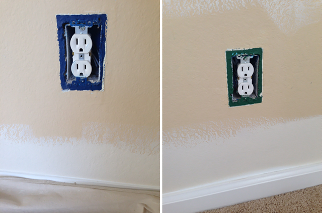 blue and green paint behind outlets
