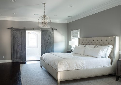 barn doors in bedroom grey
