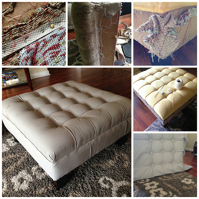 finished reupholstered ottoman Collage