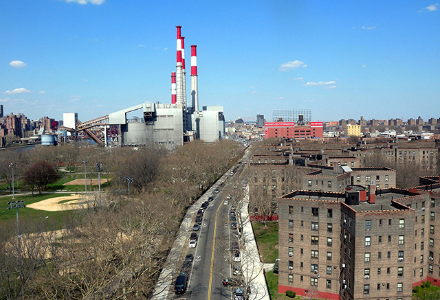 The southwest side of the Queensbridge Housing projects. East River and Con Edison plant to the left. I lived in the building at the bottom right of this picture, 6th floor (windows not visible).