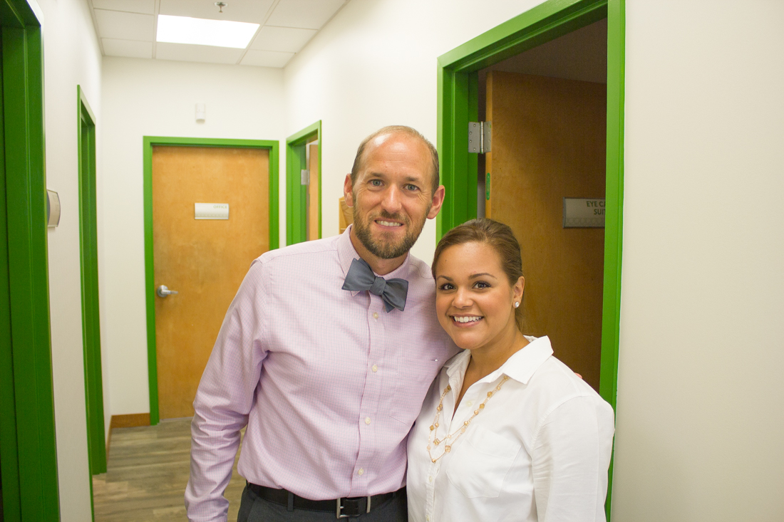 Lisette with Dr. Womack at Pearle Vision in Jacksonville, Florida, St. John's Town Center