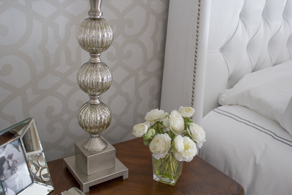 Gorgeous tone-on-tone stenciling in a master bedroom. #win a @RoyalStencils stencil of your own in this #giveaway! #decor #decorating #diy #crafts