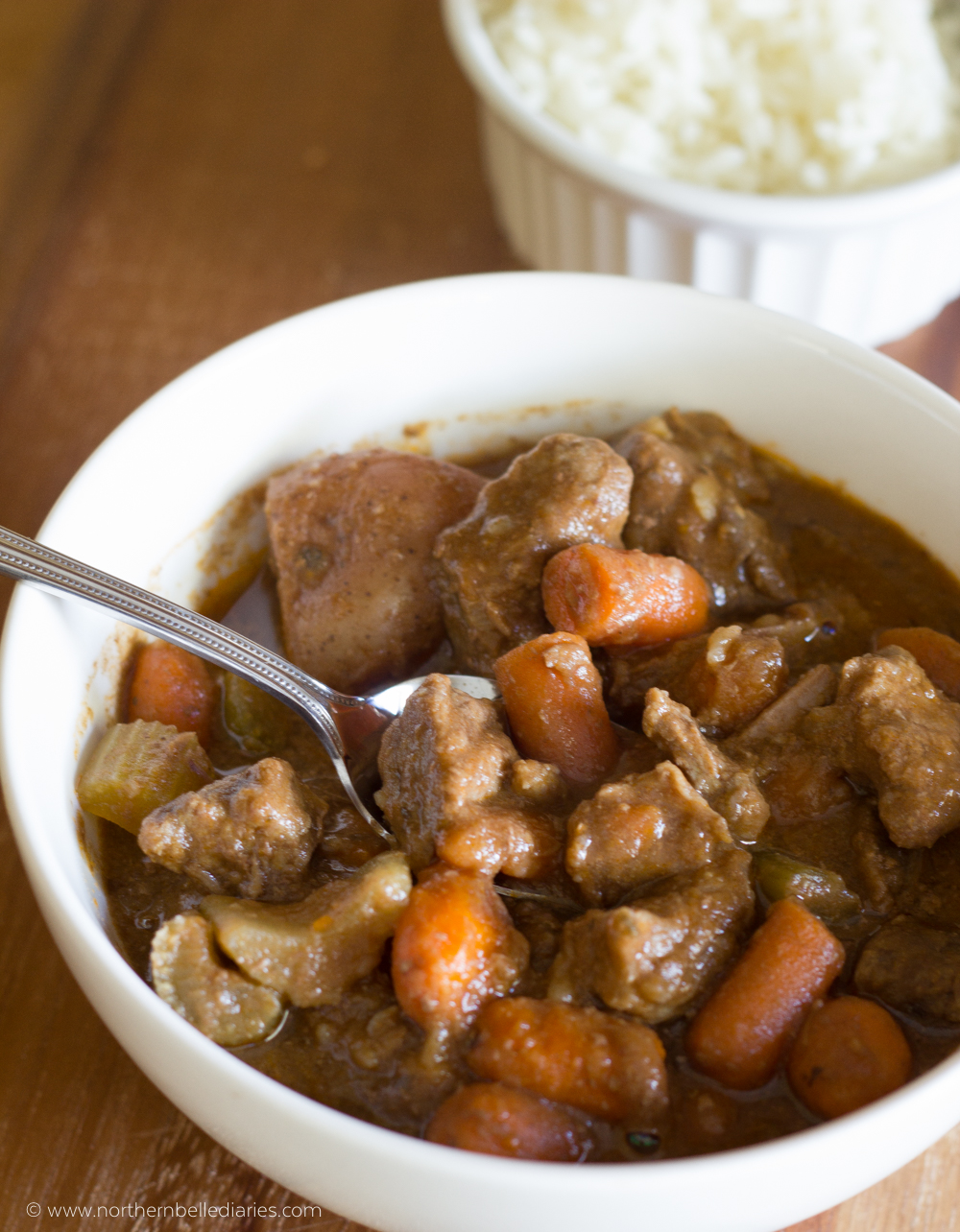 Campbell Slow Cooker beef stew bowl #CampbellSauces #ad