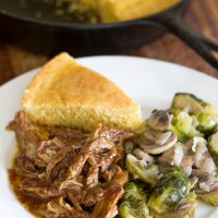It's what's for dinner tonight: Crockpot Southern BBQ and brussell sprouts recipe #ad #CampbellSauces