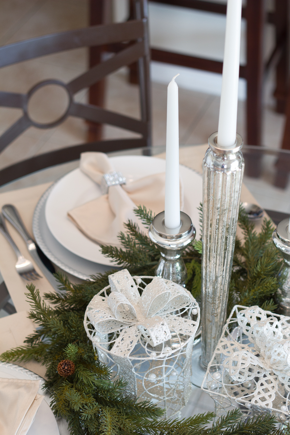 Christmas tablescaping small table #ad #AtHomeforChristmas #AtHomeFinds #decor #decortips