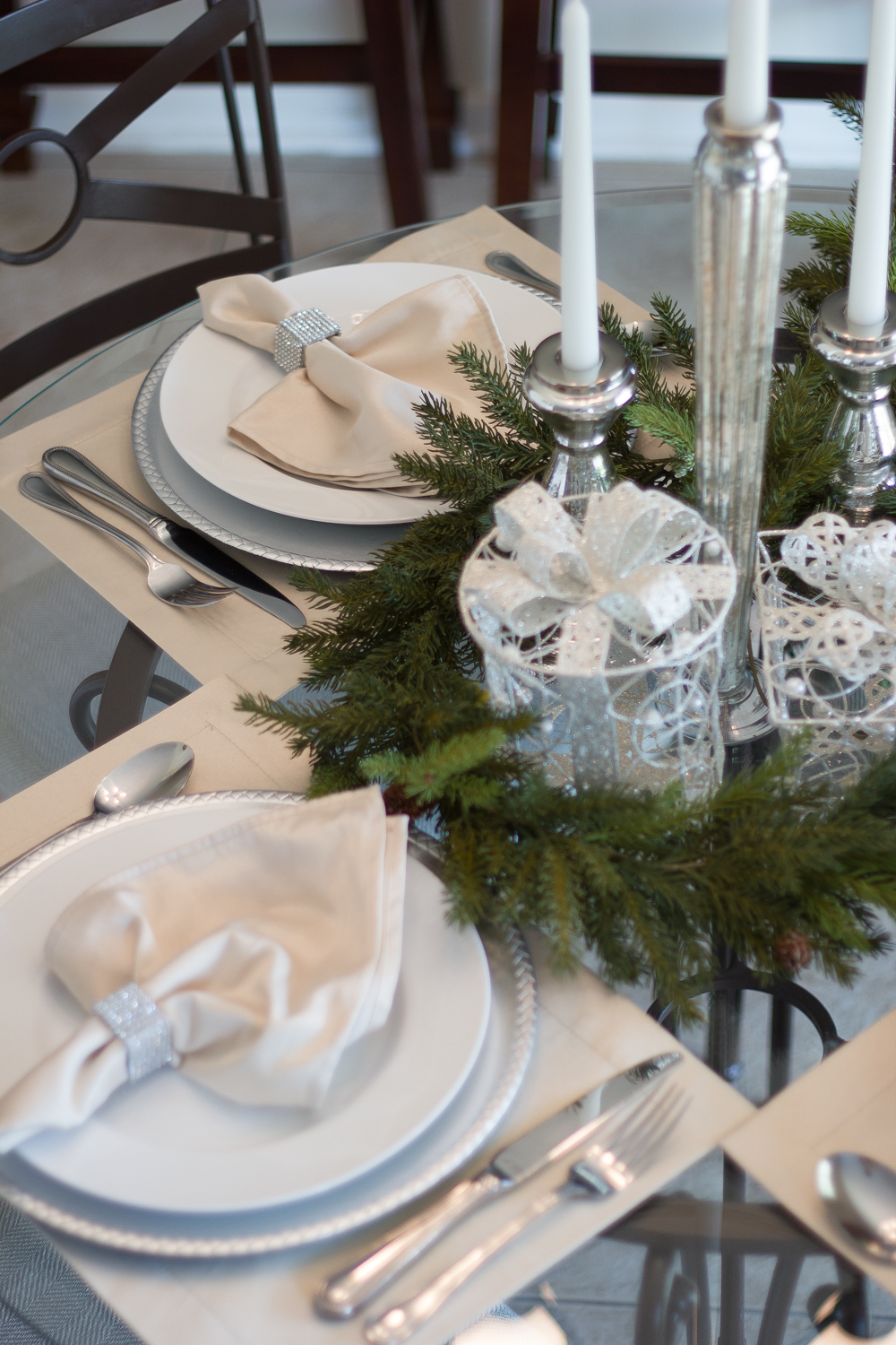 Christmas tablescaping small table #decor #decor tips #ad #AtHomeforChristmas