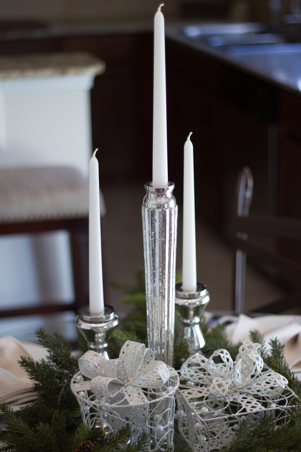 Christmas tablescape small table #ad #AtHomeforChristmas #AtHomeFinds #decor #decortips