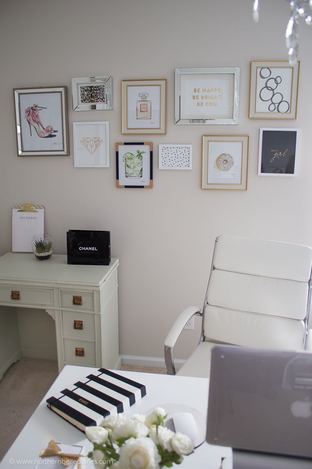 Feminine office gallery wall with watercolor artwork