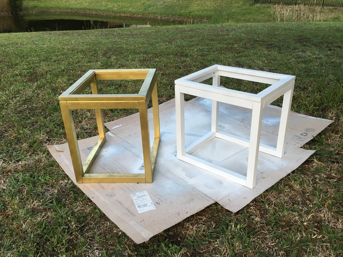 painting a gold nightstand white