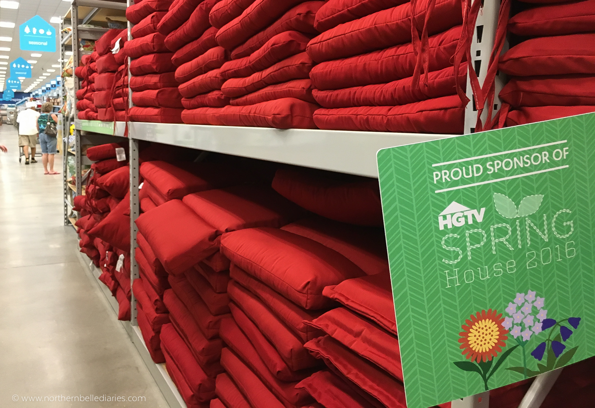 At Home HGTV Spring House 2016 red patio cushions