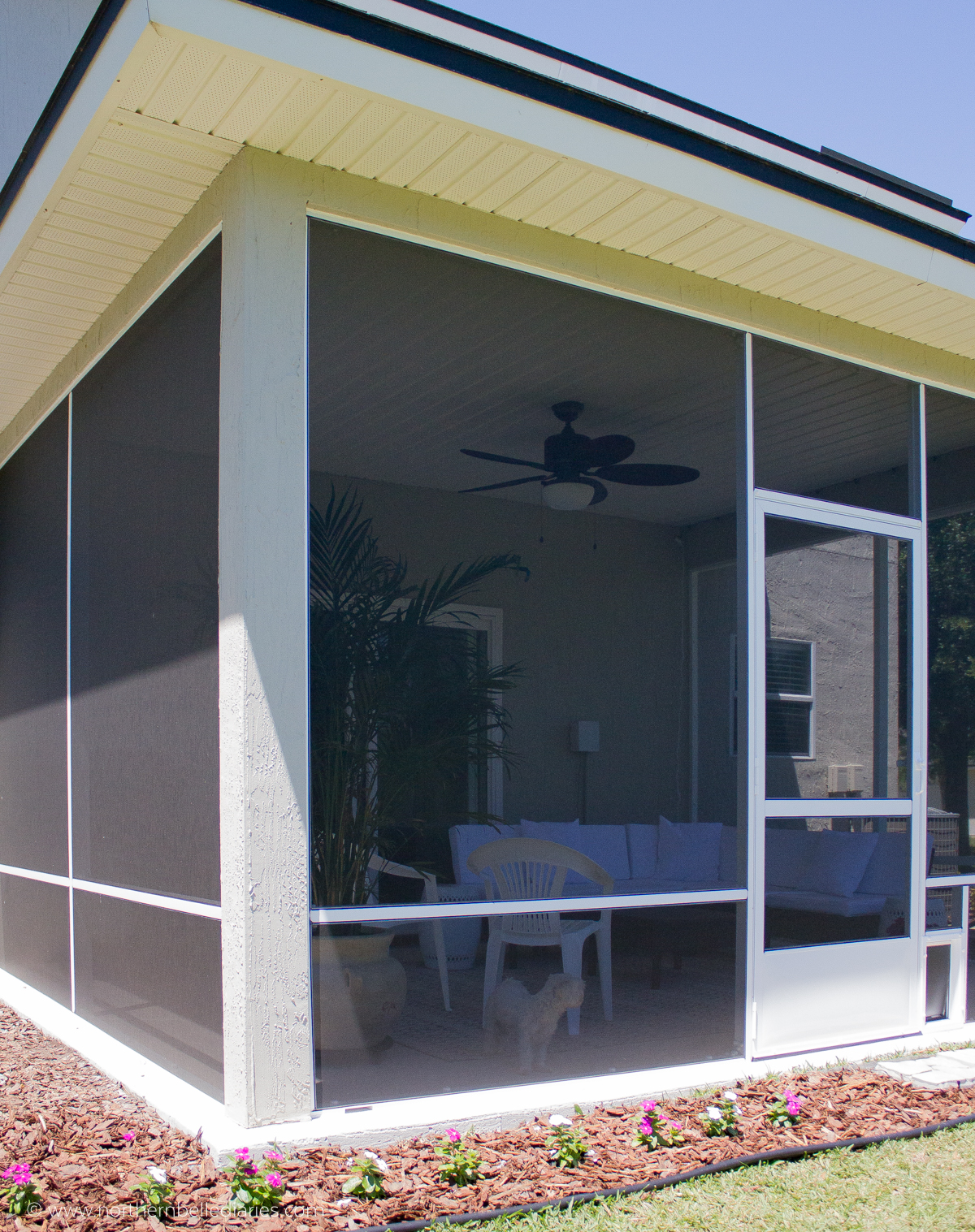 Oasis screened-in lanai Patio with At Home #decor