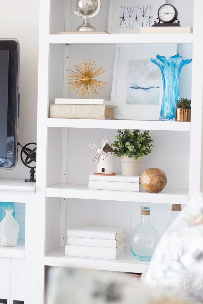Classic Blue & White Styled Bookshelves