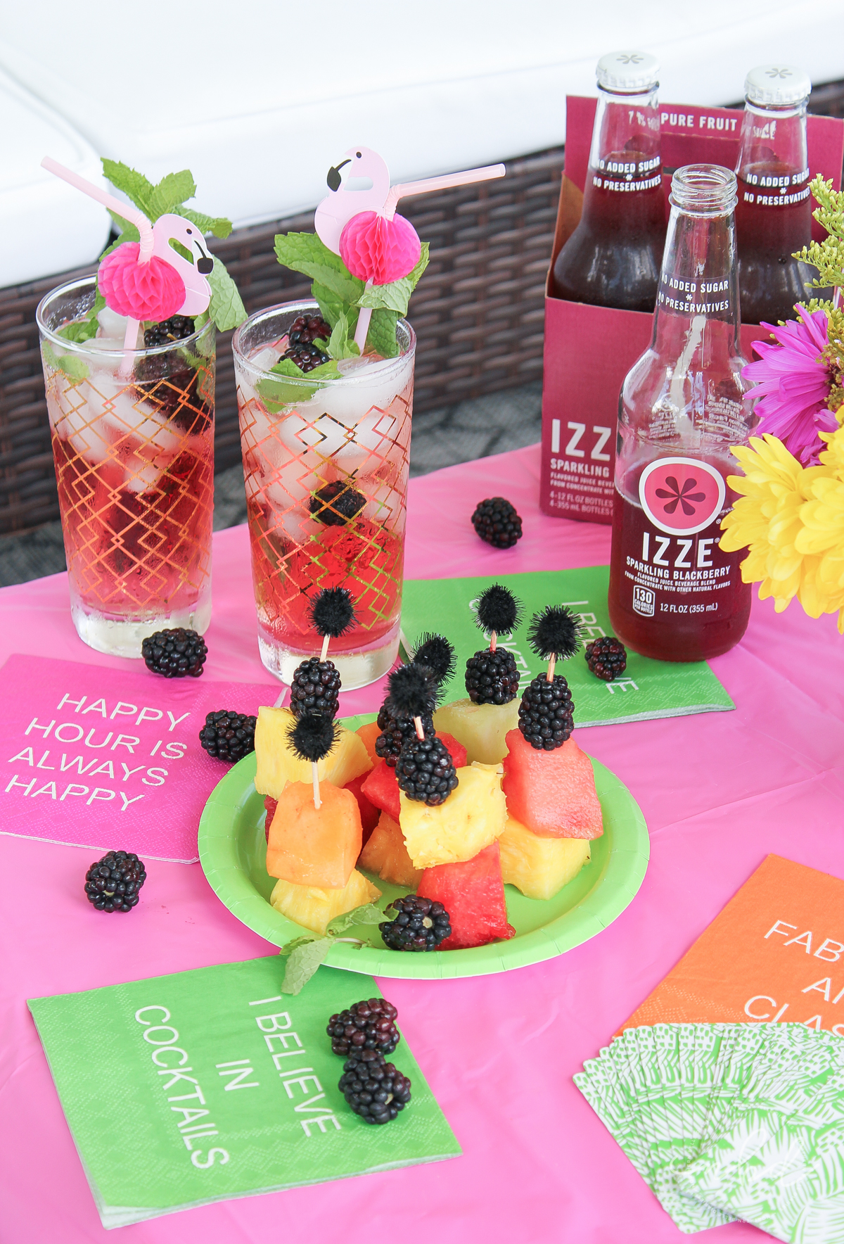 Sparkling Blackberry Mojito recipe, easy and delicious. IZZE sparkling juices are perfect for creating refreshing + fun cocktails and mock-tails! Sparkling Blackberry is also delicious on its own. #ad