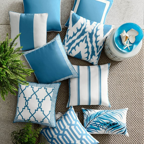 Outdoor Printed San Tropez Ikat Pillow, Sky Blue, Williams Sonoma