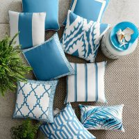 Outdoor Printed San Tropez Ikat Pillow, Sky Blue, Williams Sonoma