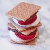 strawberry and nutella smores on marble