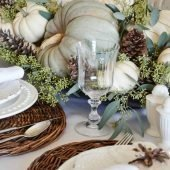 Natural Fall Tablescape mercury glass with white pumpkins #fall #falldecor