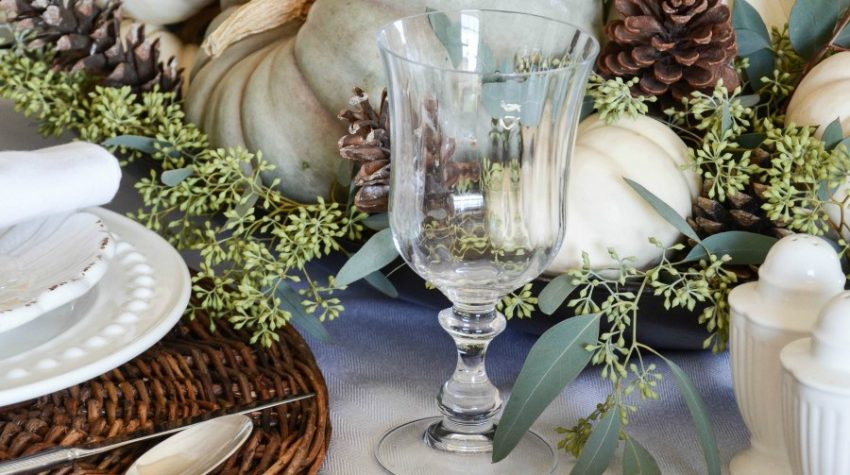 Natural Fall Tablescape mercury glass with white pumpkins #fall #falldecor