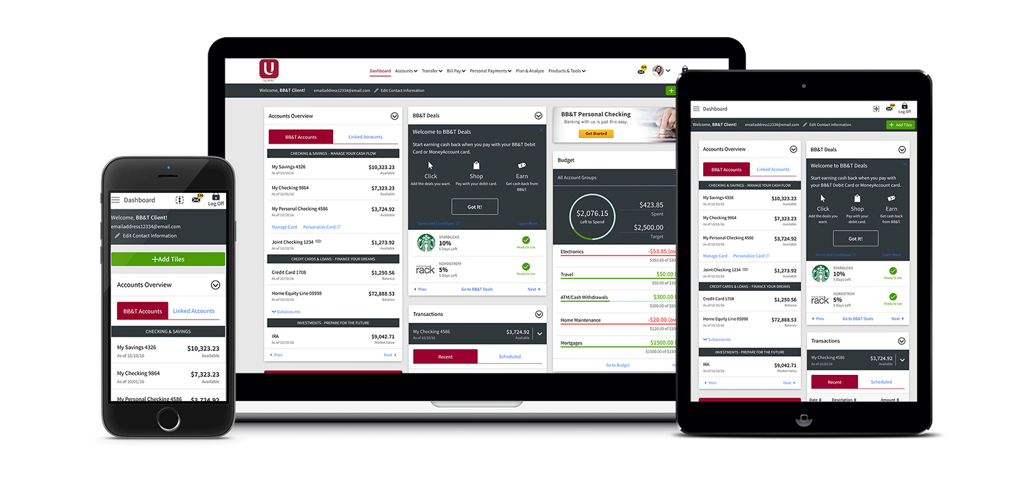 U by BB&T dashboard example