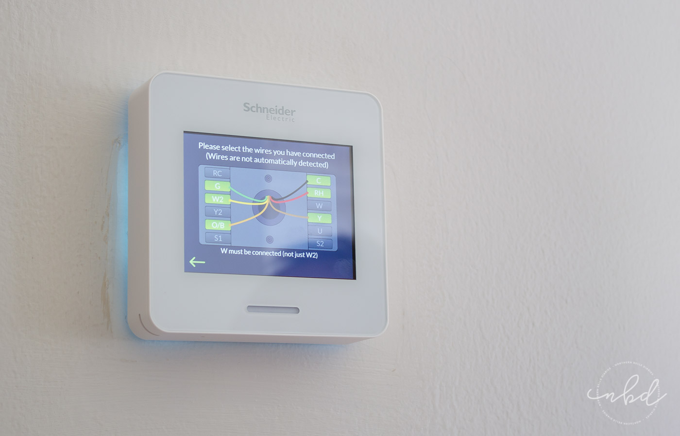 Wiser Air Wifi Thermostat installation prompts for wires