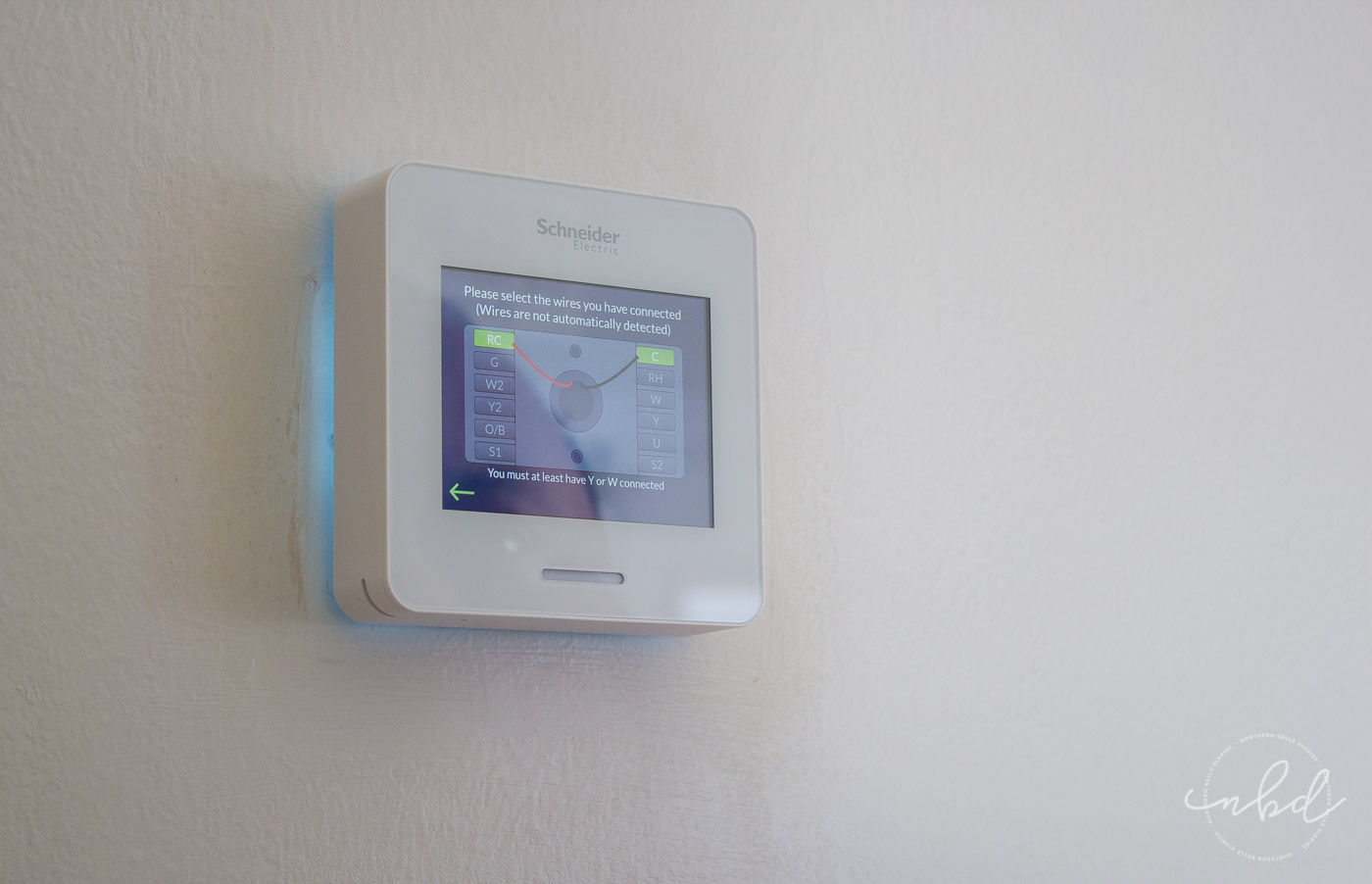 Wiser Air wifi thermostat installation prompts