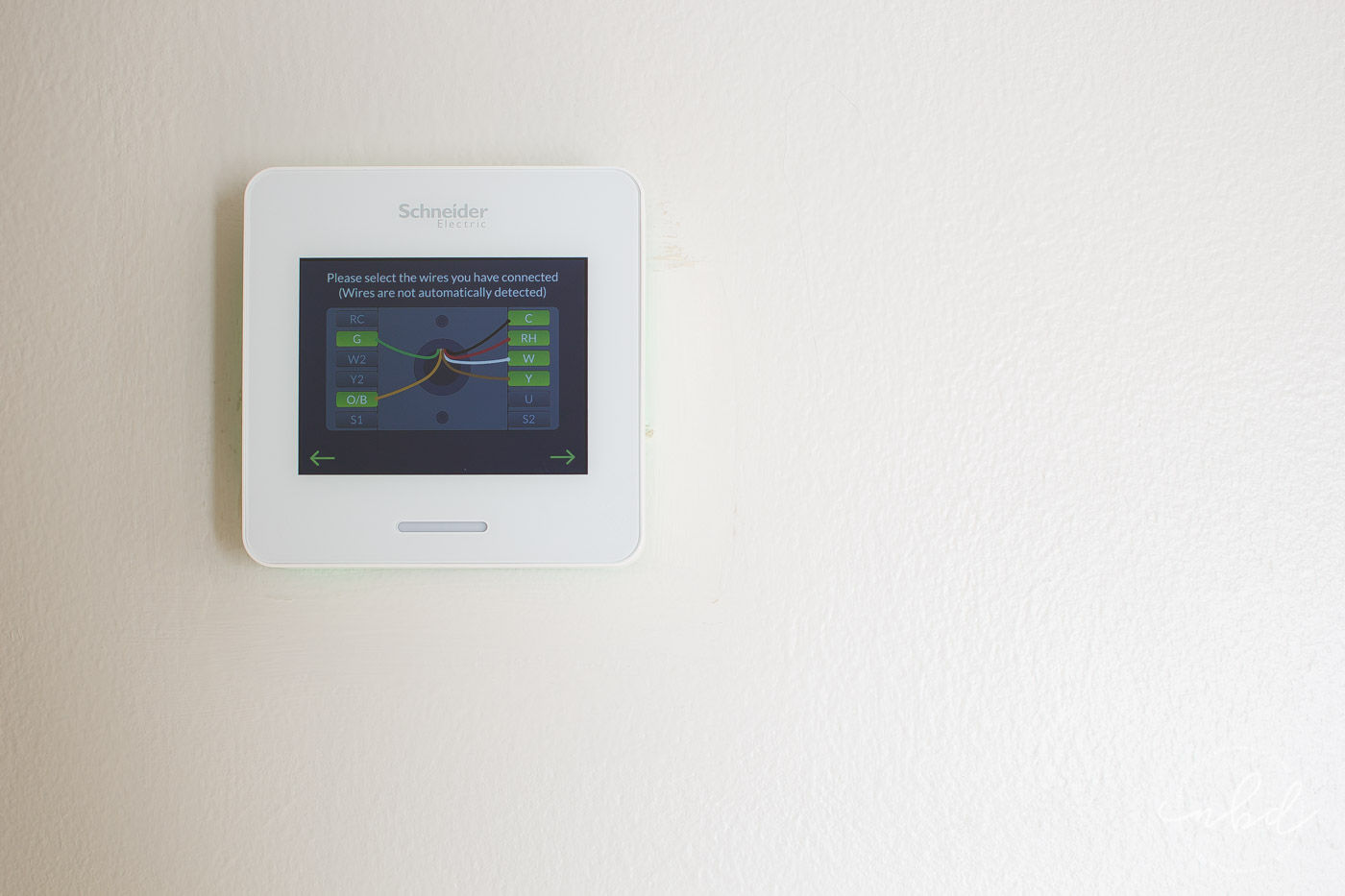 Wiser Air Wifi Thermostat colored wires correct setup