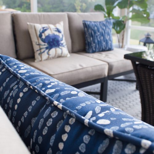 Lowe's #MyOutdoorOasis throw pillows and cushioned patio set - Northern Belle Diaries