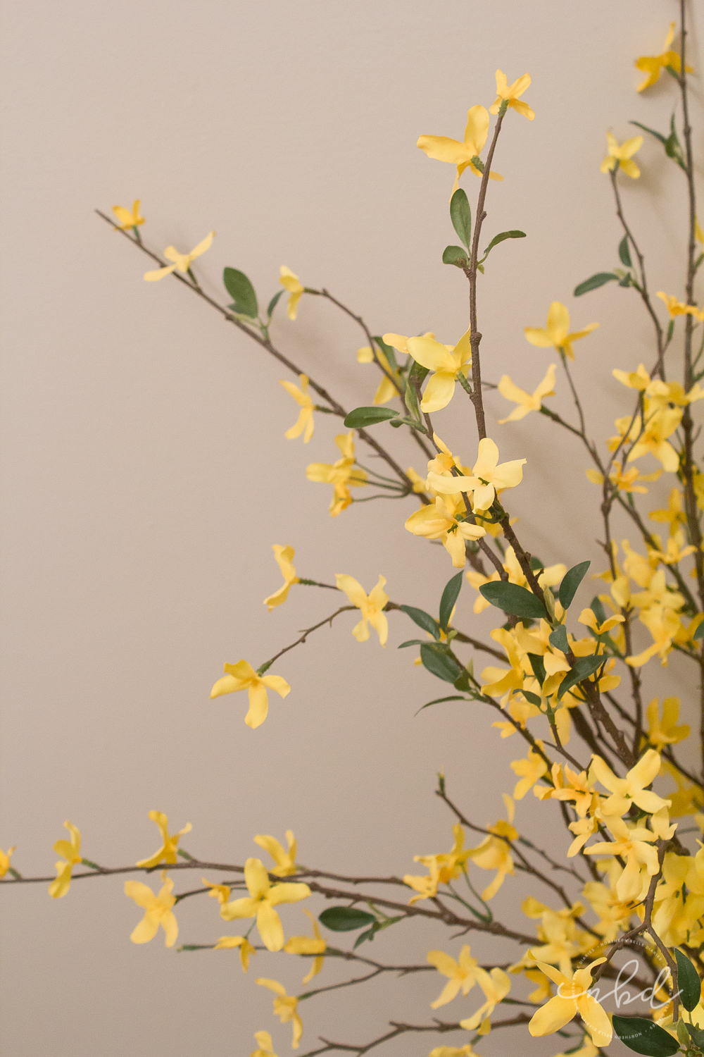 Elegant Half Bath on a Budget using Devine Color Wallpaper | Final touches- Target forsythia