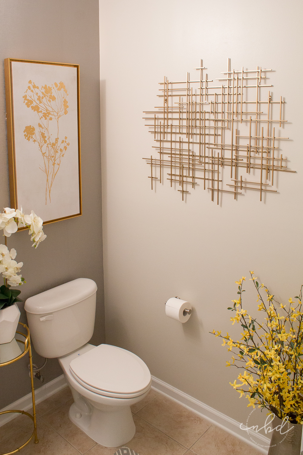 Elegant Half Bath on a Budget using Devine Color Wallpaper | Final touches- Target hammered metal vase with forsythia