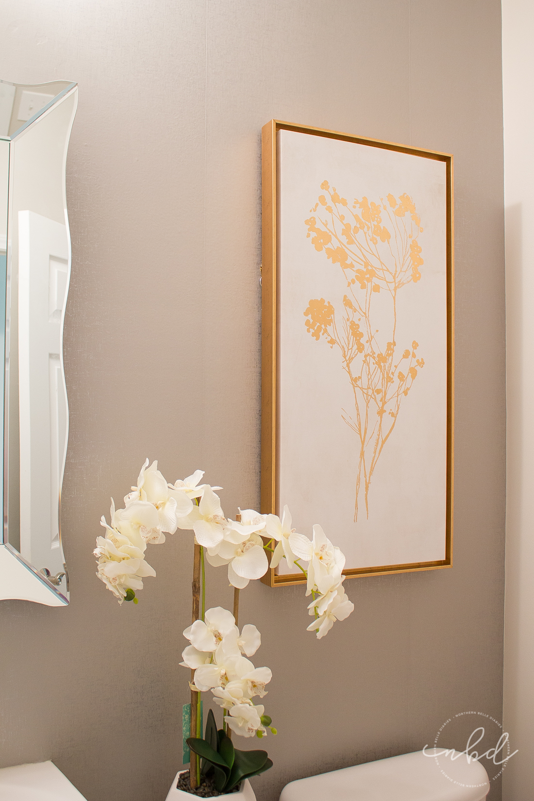 Elegant Half Bath on a Budget using Devine Color Wallpaper | Final touches
