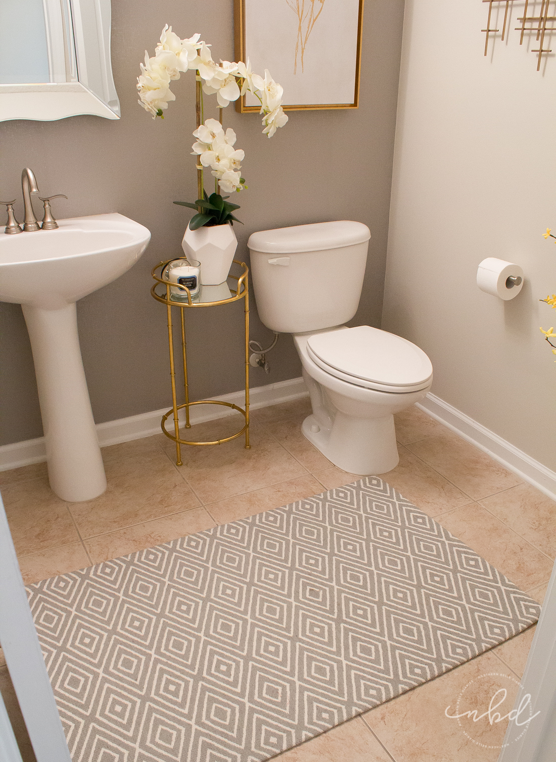 Elegant Half Bath on a Budget using Devine Color Wallpaper | Devine Color peel and stick wallpaper and Target decor