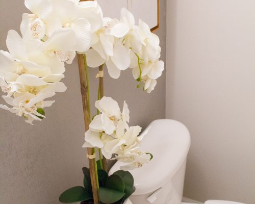 Luxe Half Bath on a Budget | Devine peel and stick wallpaper in Weave Mirage & Silver