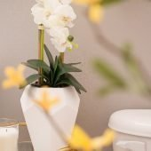 Elegant Half Bath on a Budget | Table vignette