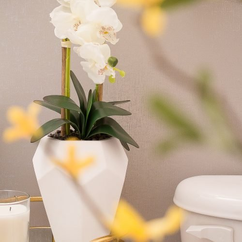 Elegant Half Bath on a Budget | Table vignette