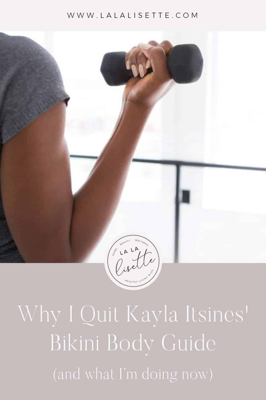 image of bicep curl with text: Why I Quit Kayla Itsines' Bikini Body Guide