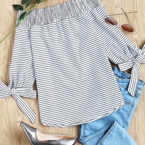 Striped-Smocked-Off-The-Shoulder-Self-Tie-Sleeve-Top