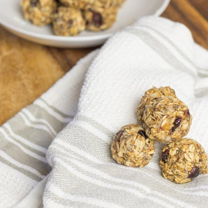 Double Protein Cranberry Almond Energy Bites