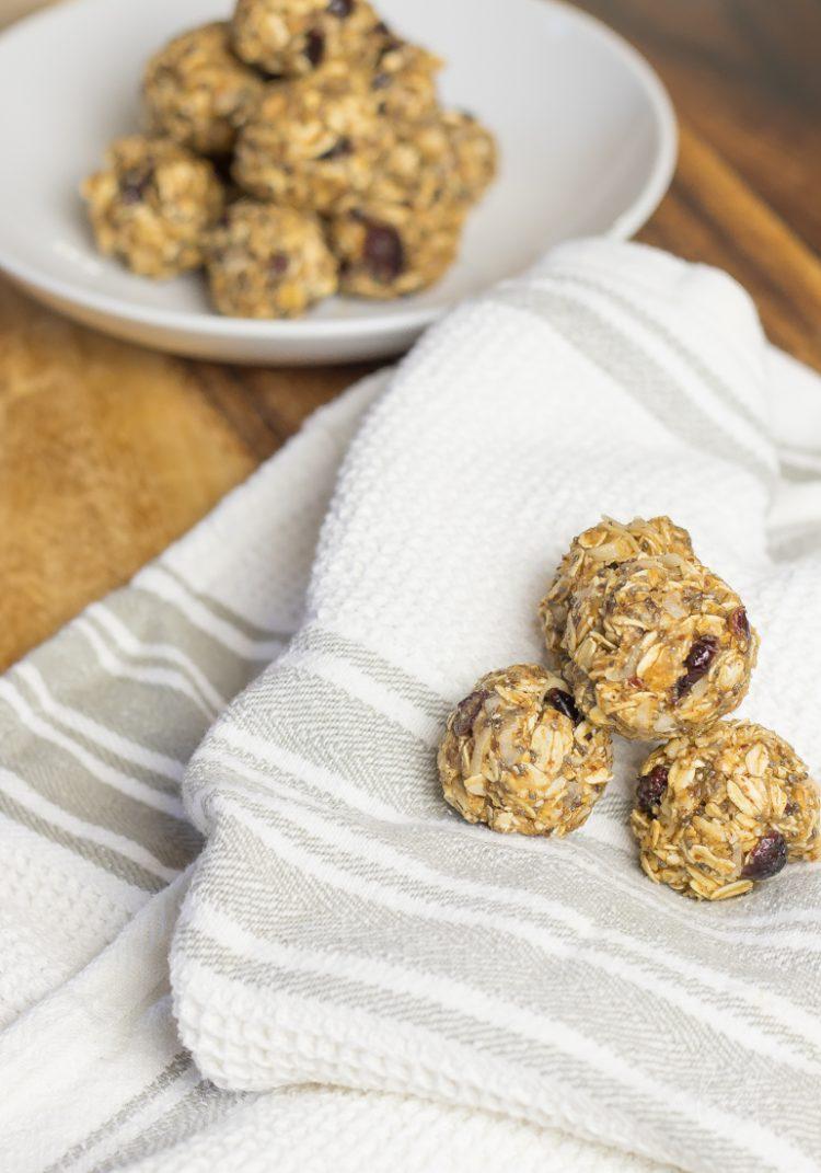 Double Protein Cranberry Almond Energy Bites - no bake energy protein balls
